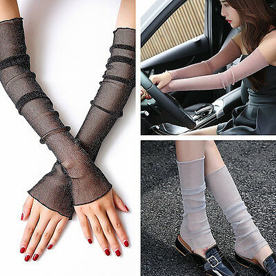 1Pair  Arm Foot Sleeves Net Mesh Glove Sun Protective Cover Bike Driving 6Colors