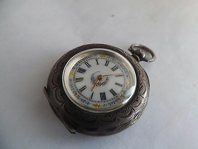 an antique silver - 935 - cased pocket watch with enamelled dial