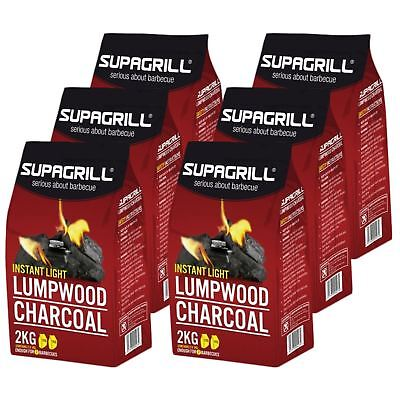 Supagrill Instant Light 12kg Lumpwood Charcoal BBQ Barbecue Grill 12 x 1KG Bags
