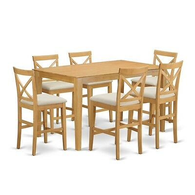 7 Piece Counter Height Dining Table Set Pub Table And 6 Bar Stools With