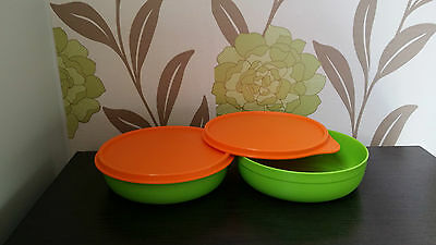 Tupperware large handy bowl set of 2 canister bowls modular mates brand new