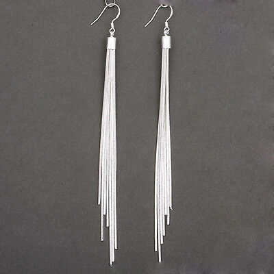 Women's Fashion Jewelry Silver Plated Long Hook Tassels Drop Dangle Earrings HOT