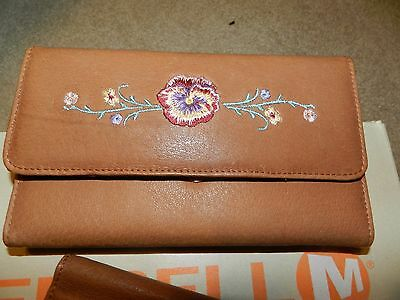 Leather Wallet With Embroidered Flowers
