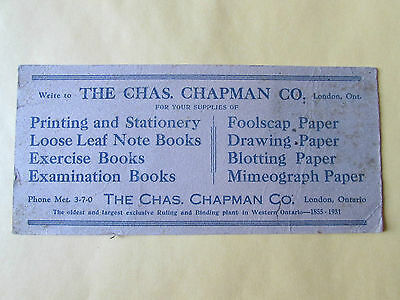 Chapman Company London Ontario 1931 Ink Blotter Vintage Ruling & Binding Plant