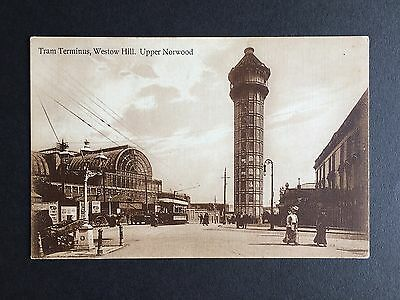 Genuine Old Postcard Tram Terminus Westow Hill Upper Norwood