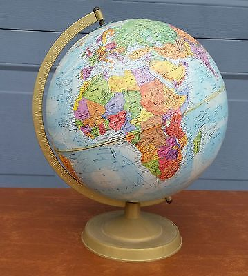 "Vtg Raised Relief 12"" Globe USSR World Nation Series Replogle LeRoy Tolman USA"
