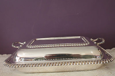 Vintage Silver Plated Covered Serving Dish With Removable Divider England