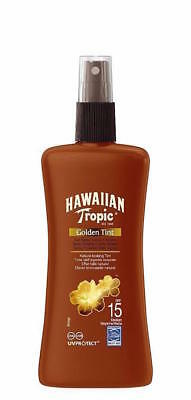 ** Hawaiian Tropic Golden Tint 15 Spf  Sun Spray Lotion 200Ml New **  Tan
