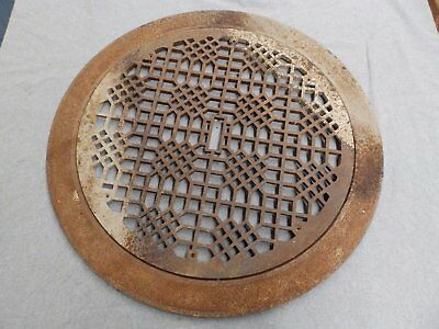 Large Antique Cast Iron Round Cold Air Return Grate Grill Vent Surround 5217-15