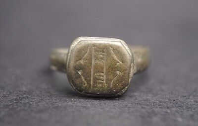 Beautiful Medieval Bronze Decorated Finger Ring 13Th - 14Th Century Ad