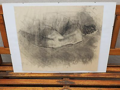 Original Charcoal Drawing of a Nude Woman Laying Down