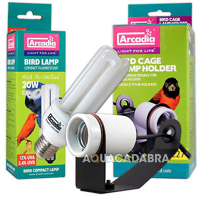 Arcadia Bird Lamp Compact Fluorescent 20W E27 Bulb Including Cage Lamp Holder