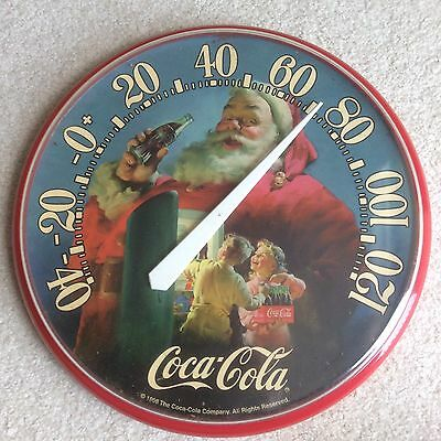 1998 Santa Coca Cola Company Round Wall Thermometer Works Great