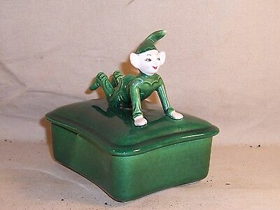 Vintage 1950s Elf Pixie On Lid Green Cigarette Trinket Box