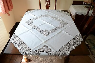 "Beautiful Vintage Linen And Lace Tablecloth 48"" X 48"""