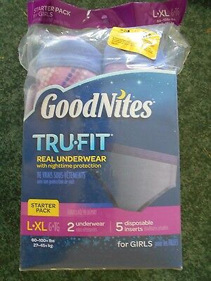 GoodNites TruFit Underwear - Nighttime Protection - Starter Pack for Girls  L-XL
