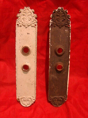 "Set Of 2 Antique Huge Brass 13.5"" Victorian Entry Door Back Plates"