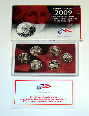 2009 District of Columbia & US Territories Quarters Silver Proof Set Six Coins