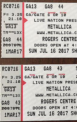 2 General Admission Floor Tickets to Metallica in Toronto on July 16, 2017