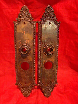 "Set Of 2 Antique Huge Brass 13.5"" Victorian Entry Door Back Plates A"