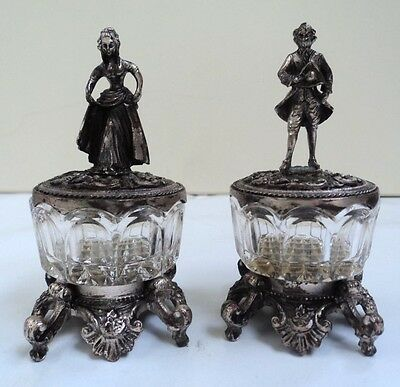 2 Antique Cut Glass Salt Cellars with Lid Gentleman & Lady