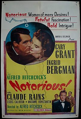 NOTORIOUS ~ 1 Sht. Orig. '54RR ~ VG Cond. ~ HITCHCOCK! GRANT and BERGMAN STAR!