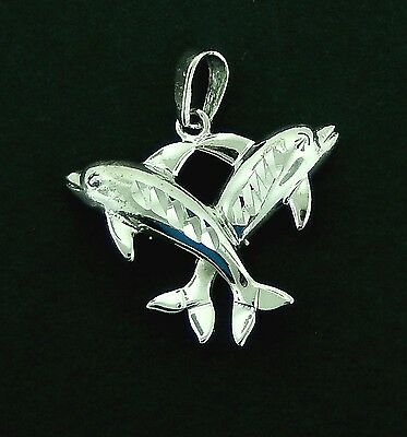 Dolphins  #4 Charm/ Pendant in Sterling   3/D Lg. Bail, Non Tarnishing