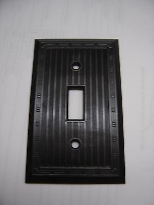 Vintage circle F Bakelite Switch Plate Cover brown Ribbed Art Deco NOS