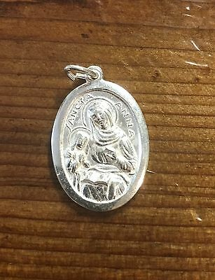 84fb138f733 Vintage New Old Stock Silver Plate Religious Medal Saint Ann St Anne Sancta  Anna