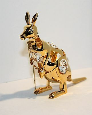 """Swarovski Crystal Elements """"Kangaroo with Baby"""" Standing 24Kt Gold-Plated"""