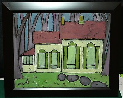 """Painting On Canvas Board - Signed in Verso - """"Cartoon"""" Style Folk Art"""