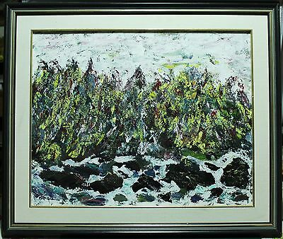"Abstract Oil Painting On Canvas - Forest By Raging River - Signed ""Heiser"""