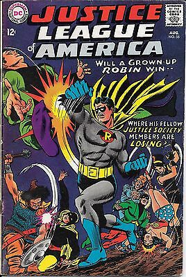 Justice League of America #55 (Aug 1967, DC) Grownup Robin, Justice Society Hero