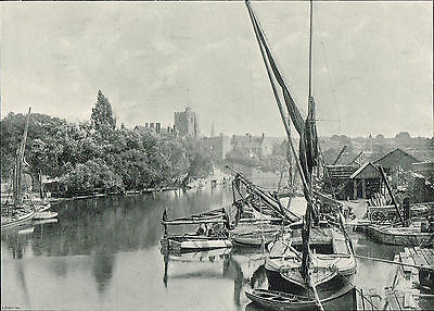 Maidstone Kent 1900 Single Sided Antique Print Picture #615