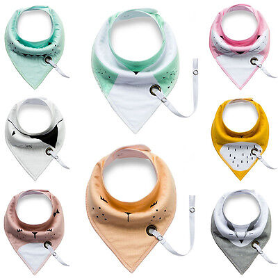 Baby Infant Toddler Cotton Triangle Bibs Saliva Towel with Pacifier Clip