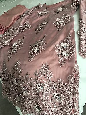 New Indian Pakistani 3D Embroidered Pearl Net Lace Party Wedding Mehndi Suit