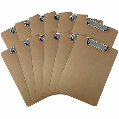 Trade Quest Letter Size Clipboards Low Profile Clip, Hardboard (Pack of 12)