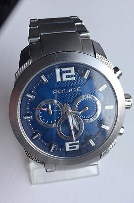 Police Men's Quartz Watch with Blue Dial Chronograph Display and Silver