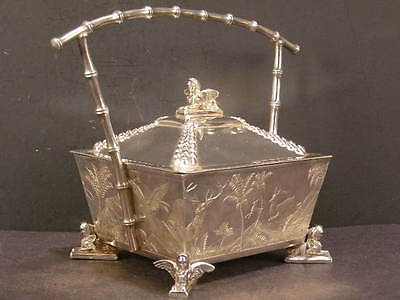 1800's Egyptian Revival Relief Biscuit Jar Dresser Jewelry Silver Box Tea Caddy