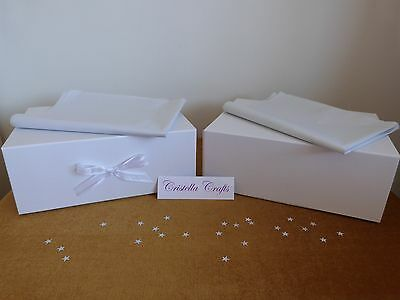1 LUXURY LARGE WHITE GIFT MEMORY KEEPSAKE BOX Magnetic Closure & Optional Ribbon
