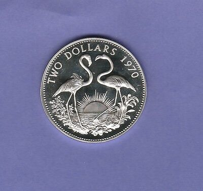 """Bahamas 2 Dollars Proof Sterling Silver Coin,1970 Cat#10,Mint 23,000""""Flamingos"""""""