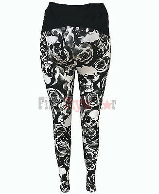 Ladies Full Length Printed Skull & Roses  Maternity Leggings..