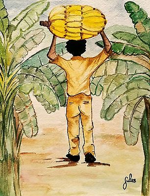 Framed A4 Caribbean Watercolour Print-Banana Man Wall Art Decor. Limited Edition