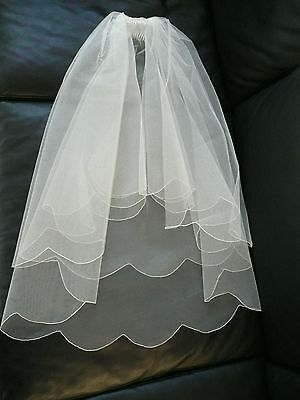 "Two Tier Ivory Net Short Wedding Veil / Scallop Edge Trim / 26"" + 22"" Length"