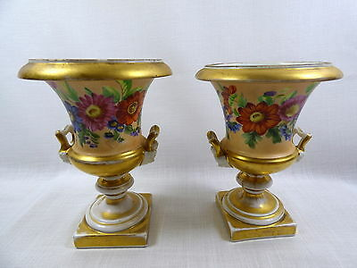 Antique Pair of Old Paris Handled Porcelain Urn Shaped Vases Floral w/ Gold Trim
