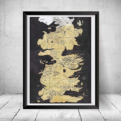 Game of Thrones Westeros Map Print Gift HBO Song Fire Ice 7 Kingdoms Art Snow