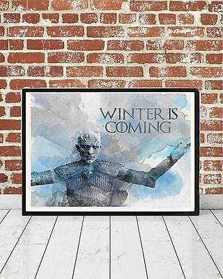 Game of Thrones Winter Is Coming Watercolor Art White Walker Song Fire Ice Gift