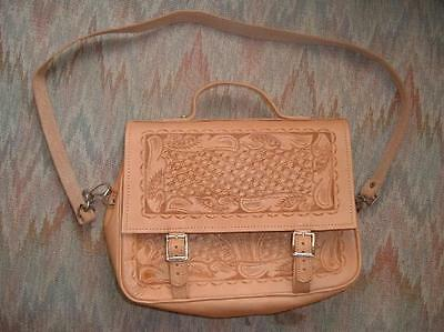 New Tooled Leather Book or Bible Cover Case Tote (Handmade) Natural leather