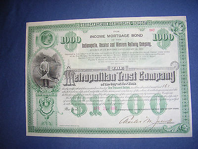 Indianapolis, Decatur and Western Rwy Co, Income Mortgage Bond, 1892, 1000$