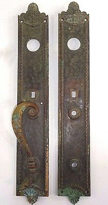 "Antique LARGE 17.75""  Victorian Russell & Erwin Entry Door Handle Plate"